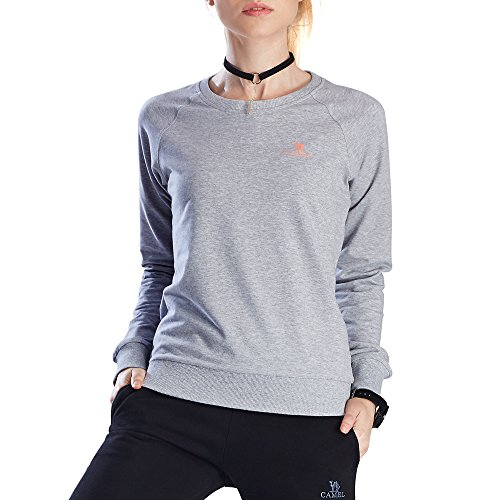 Camel Women Sweatshirt Sport Long Sleeve T-Shirt Pullover Sweater Shirt Crewneck Sweat Shirt Outdoor Fleece XXL (Crew Workout Sweatshirt)