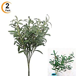 "Sweetdecor 2 PCS Artificial Olive Plants Branches Fruits Branch 35.4"" Fake Flowers Branch Leaves Indoor Outside Home Garden Office Wedding Décor Great Gifts 109"