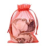 Pandahall 100 PCS 5x7 inch Red Organza Drawstring Bags Party Wedding Favor Gift Bags