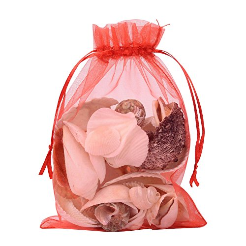 Bags Red Organza Gift (Pandahall 100 PCS 5x7 inch Red Organza Drawstring Bags Party Wedding Favor Gift Bags)