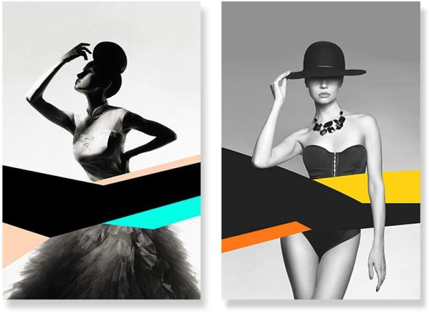 Moda Modelo Figura Poster y Impresiones Moderno Pared Arte Abstracto Lienzo Pintura Galería Cuadros para Salon Habitación Hogar Decoracion 40X60cmx2 No Enmarcado