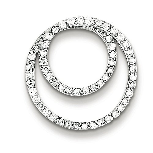 Argent Sterling diamant pendentif Femme-Double Cercle-Toboggan-JewelryWeb