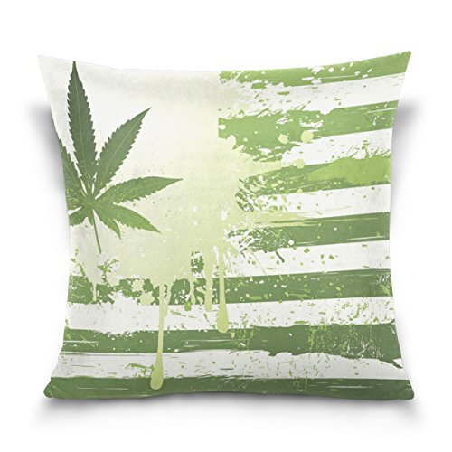 LAVOVO Grunge Hemp Leaves Marijuana Pattern Decorative Throw Pillowcase Cushion Pillow Cover 16
