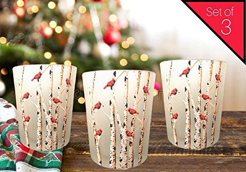 Cardinal Candles - Set of 3 Frosted Glass Votive Holders - Red Cardinals on Birch Tree Branches - 3 LED Tealight Candles Included - Leaf Tealight Holders
