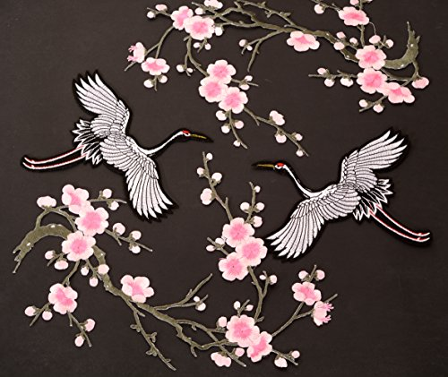 A Set of Two Flower Patches and Two Birds iron on Patches Embroidered, Sewing, Embroidery Patches,Embroidered Lace Fabric Ribbon Trim Neckline Collar (Big Birds, Pink) (Flower Embroidery Stones)