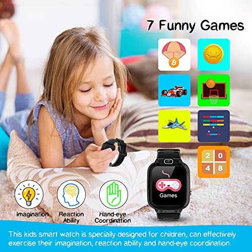 Vannico Orologio Intelligente Bambini con 7 Giochi, Musica MP3 Smartwatch Bambini con Video Fotocamera 10MP Touch Screen Cronometro Sveglia Fotografica, Regalo Ragazzo e Ragazza