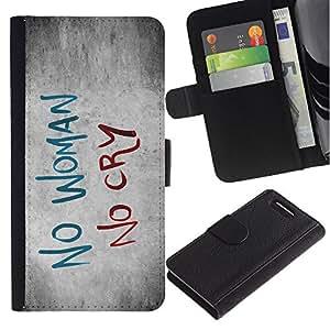 KingStore / Leather Etui en cuir / Sony Xperia Z3 Compact / Mujer Tristeza Cry Cita Slogan Heartbrake