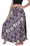 Bangkokpants Women's Long Hippie Skirts Elephant US Size 0-12 (purple)
