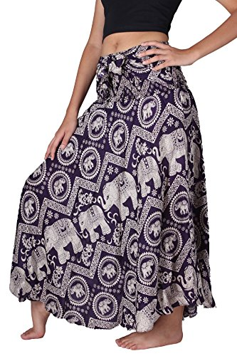 Bangkokpants Women's Long Bohemian Hippie Skirt Boho Dresses Gypsy Clothes Elephant One Size (Purple Chakra, One size)