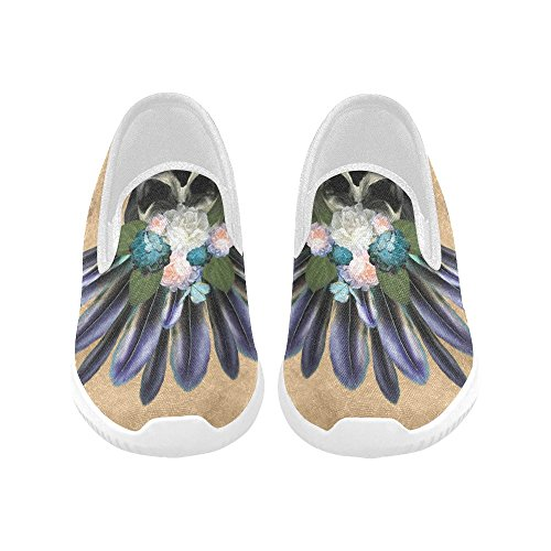 InterestPrint Skull Of Flowers Lady Pattern Slip on Canvas Sneakers for Women Skull With Feathers and Flowers 6YIh1PbqgN