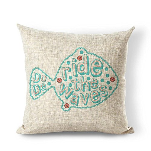 OneMtoss Cotton Linen Square Throw Pillow Cover Cushion Case Dude Ride The Waves 24 X 24 Inch -