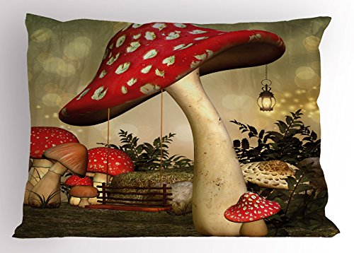 Mushroom Pillow Sham by Lunarable, Swing Hanging From Mushroom Wild Grass and Plants Dreamlike Atmosphere, Decorative Standard Queen Size Printed Pillowcase, 30 X 20 Inches, Red Ivory Army (Ivory Mushroom)