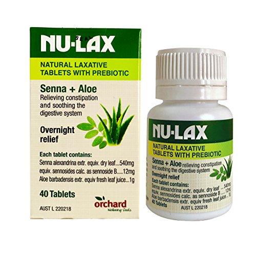 Nulax Natural Laxative Tablets With Prebiotic Senna + Aloe 40 Tablets