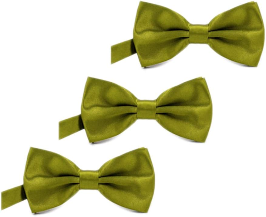 Burgundy IvyFlair 3-Pack Pre Tied Adjustable Satin Formal Bowties Bow Tie