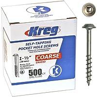 Kreg SML-C150-500 Pocket Hole Screws 1-1/2-Inch #8 Coarse Washer-Head 500ct