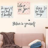 lovely love wall decals (4 in 1) Believe in Yourself/Be Your Own Kind of Beautiful/Enjoy The Little Things/PS. I Love You-Lovely&Warm Inspirational Quotes Wall Decals-Vinyl Wall Stickers for Bedroom Living Room Home Decor