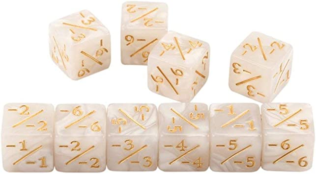 Kaemma 10x Contadores de Dados 5 Positivos + 1 / + 1 y 5 Negativos -1 / -1 para Magic The Gathering Table Game Divertidos Dados (Color:White): Amazon.es: Juguetes y juegos