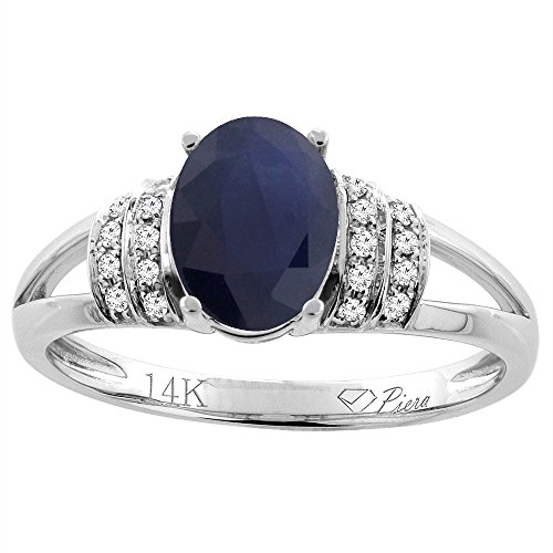 (14K White Gold Natural Blue Sapphire Ring Oval 8x6 mm Diamond Accents, size 6.5)
