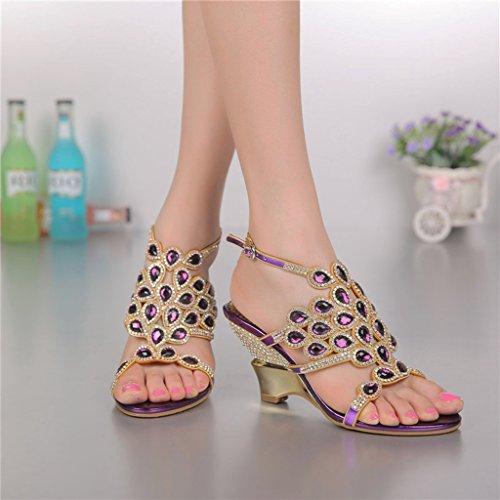 Slippers wedge Women's Fashion Rhinestone Sandals Shoes Purple Dress Summer Pumps Wedding Doris Evening Glitter PdwOPv