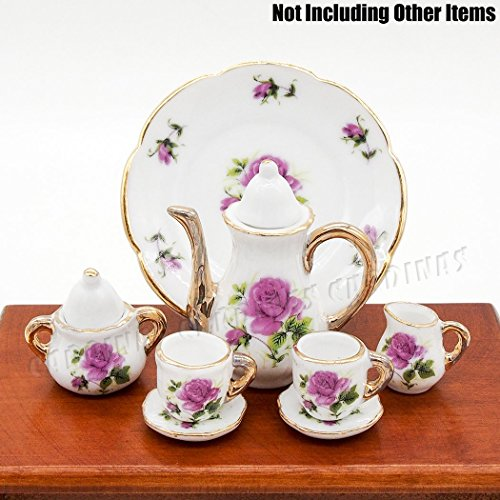 Odoria 1:6 Miniature 8PCS Porcelain Tea Cup Set Purple Chintz with Gold Trim Dollhouse Kitchen Accessories - Miniature Ceramic Tea Set