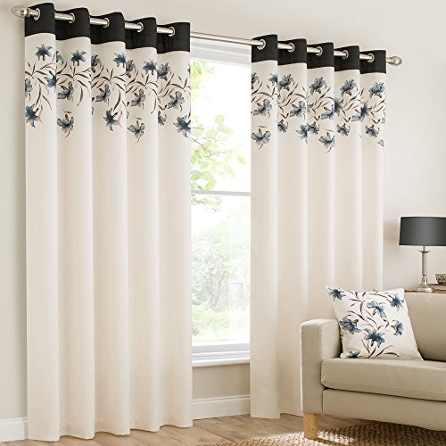 "Mirabel Pair Of Lily Floral Lined Window Curtain Panels With Eyelet Grommet Top 46""Wide x 54""Drop Black"