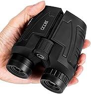 occer Prismáticos compactos de 12 x 25 con visión clara de poca luz, gran ocular impermeable para adultos niño