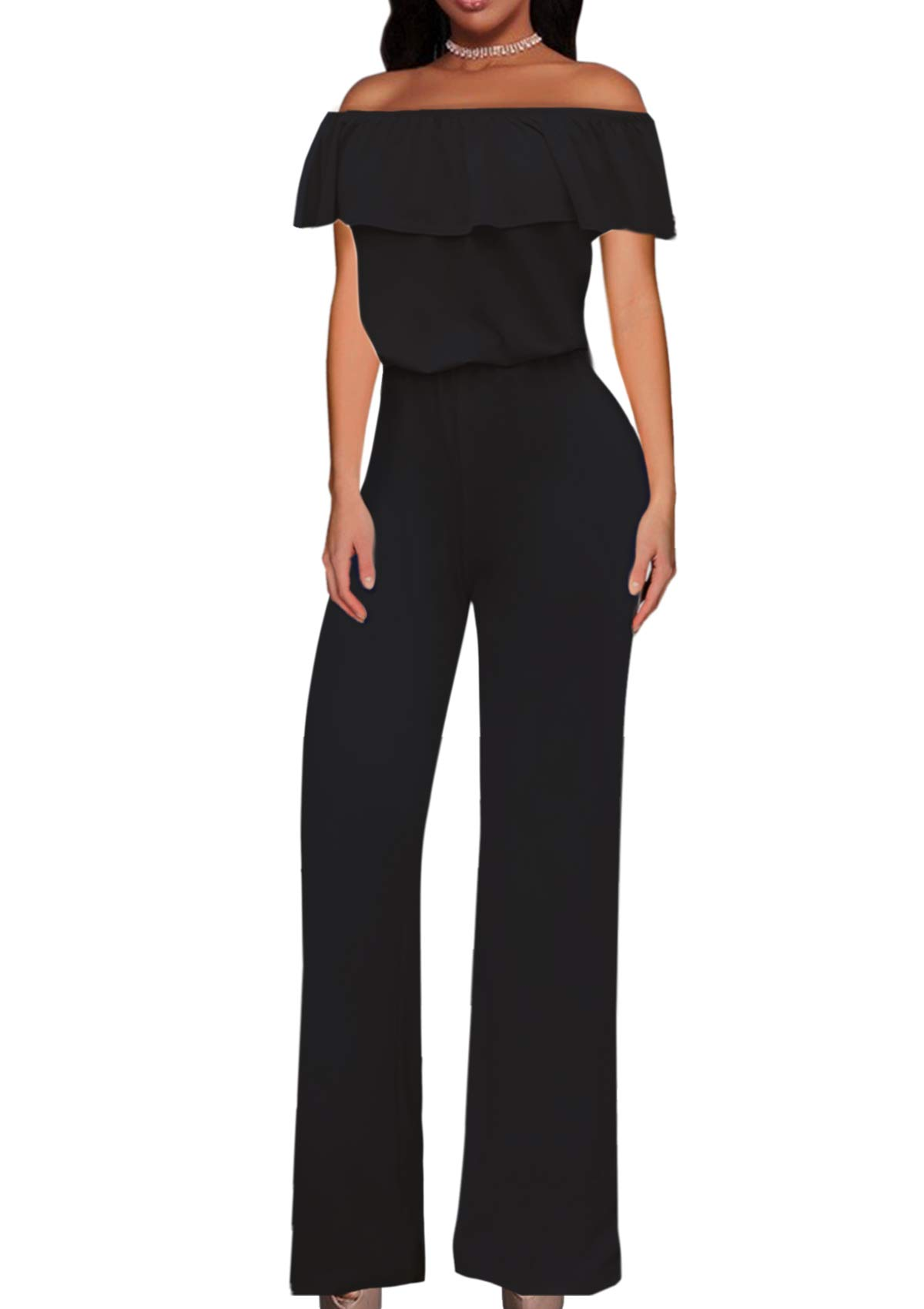 HyBrid & Company Women High Waist Wide Leg Pants Jumpsuit Romper KPVJ47696X Black 2X