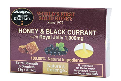 Honey in a solid form with black currant and functional ingredient royal jelly no added sugar no maltodextrin a natural super-food antioxidant