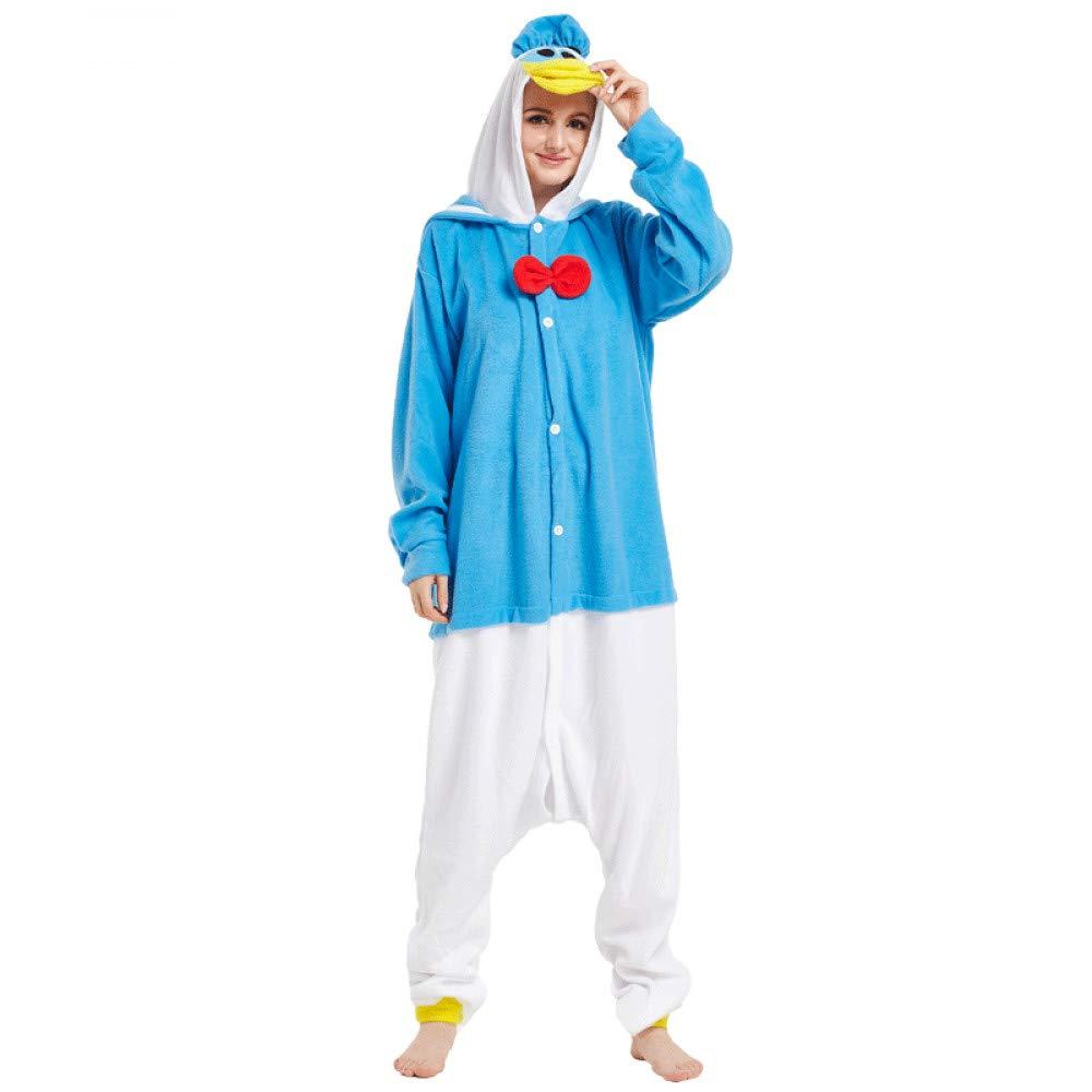 SALICEHB Polaire Donald Duck Animal Cartoon Pyjamas Siamois Hommes Et Femmes Couples Pyjamas Hiver Service