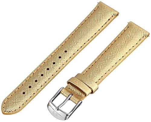 Calfskin Metallic Leather (MICHELE MS16AA430546 16mm Leather Calfskin Metallic Gold-Tone Watch Strap)