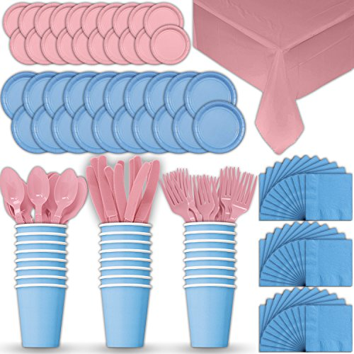 Paper Tableware Set for 24 - Light Blue & Light Pink - Dinner and Dessert Plates, Cups, Napkins, Cutlery (Spoons, Forks, Knives), and Tablecloths - Full Two-Tone Party Supplies Pack ()