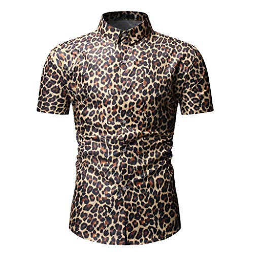 - Mens Leopard Print Fashion Short Sleeve Large Size Casual Polo Shirt Tops