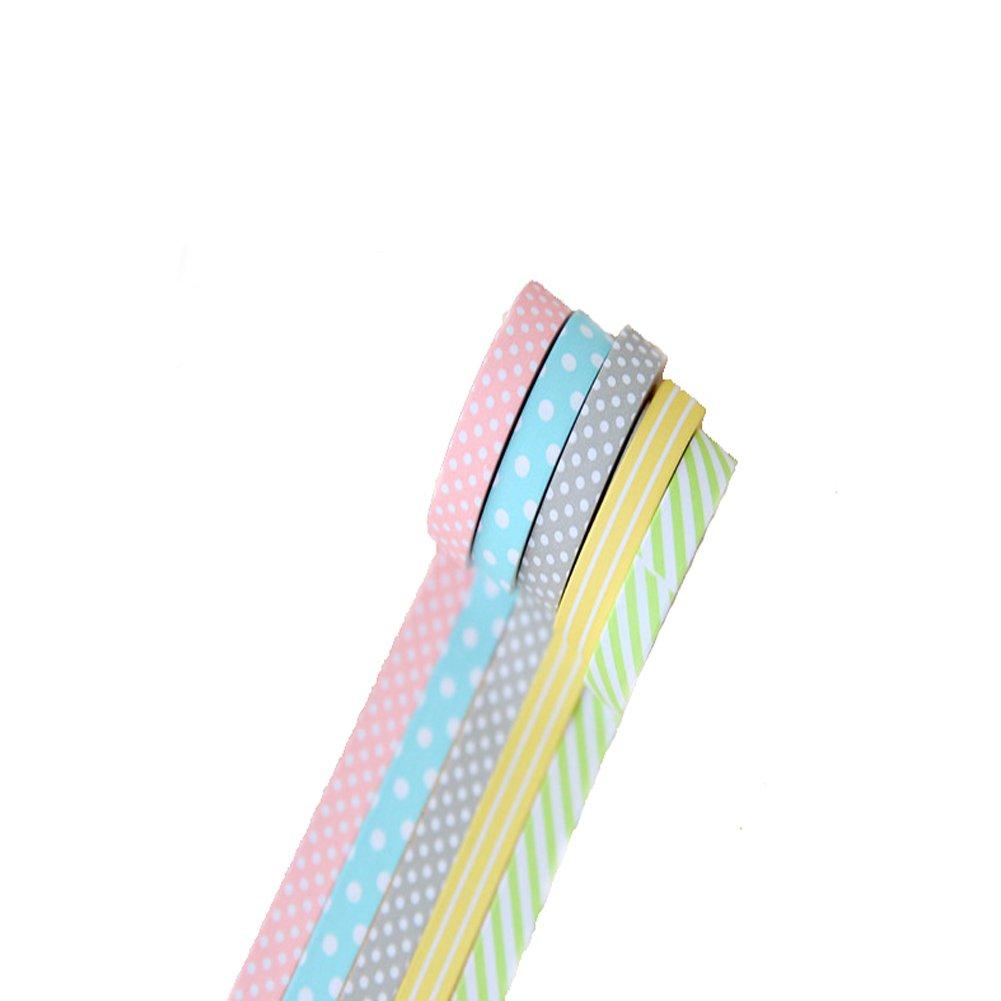 WeiMay 5 x misti, motivo punto nastro adesivo di imballaggio carta decorativo 15 mm 3 rotoli per DIY DIY foto album, libri, regali