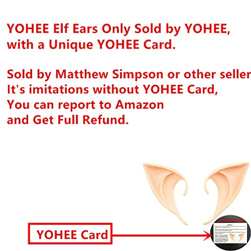 YOHEE 1 Pair Cosplay Masks Soft Fairy Pixie Elf Ears Accessories Halloween Party Pointed Prosthetic Tips Ear(Color 1#)