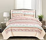 quilt only - Blissful Living Luxury Ruffle Quilt Set Including Shams - Lightweight and Soft for all Seasons, Available in Twin, Full/Queen and King Size (King, Leeza Cream)
