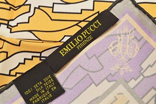 (エミリオプッチ)ポケットチーフ メンズ プッチ柄シルクポケットチーフ(サイズ32×32cm)eep19w131 イエロー