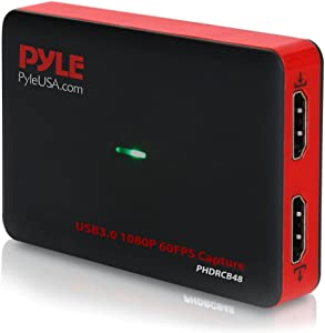 Pyle Video Game Capture Card Device with Video Recorder, HDMI Output, Full HD 1080P Live Streaming, USB, SD, PC, DVD, PS4, PS3, Xbox One, Xbox 360 and Wii - PHDRCB48