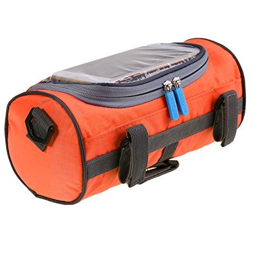 PEATAO Bicycle Handlebar Bag Waterproof Touch Screen Phone Case Cylindrical bar bag bicycle (Orange)