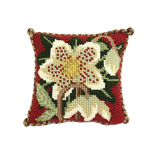 (Christmas Rose Mini Needlepoint Tapestry Kit from Elizabeth Bradley premium English needlework project on 10 mesh with 100% wool yarns)