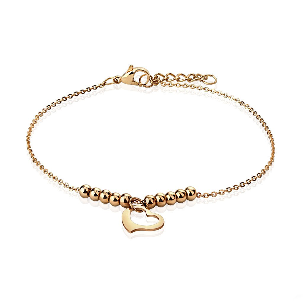 Jinique JSB-7159 Rose Gold Stainless Steel Chain with Heart Dangle and Multi Beads Anklet Bracelet
