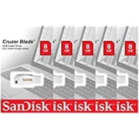 Lot of 5 SanDisk Cruzer Blade 8GB USB 2.0 Memory Flash Drive Thumb Stick White SDCZ50C-008G-B35W Pack