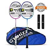 WHIZZ 2 PCS 100% Graphite Badminton Racket Set, Frame/String Protection Design, Badminton Bag / 2 Grip Tapes Included (Blue-Pink)