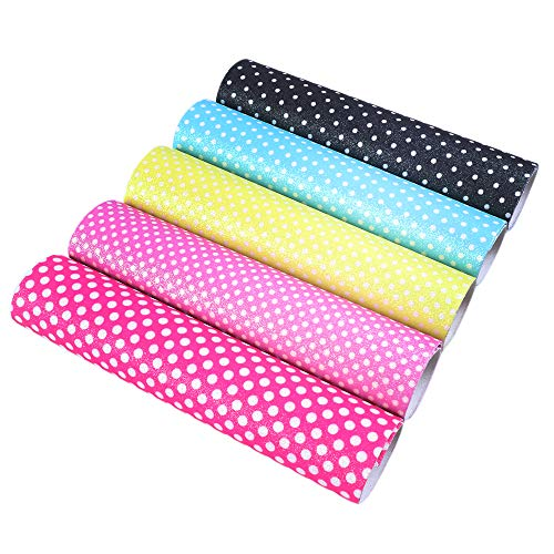 (David Angie Glitter Dots Print Synthetic Leather Sheets 5 Pcs 8