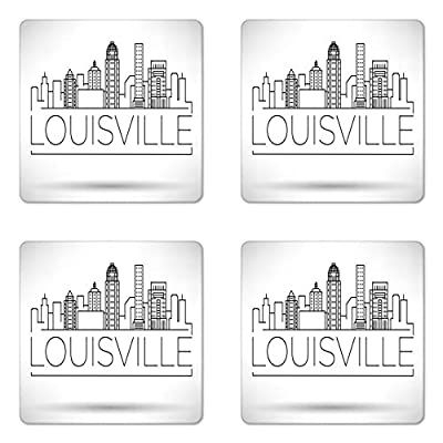 Lunarable Kentucky Coaster Set of Four, Minimalist Buildings of Louisville City Greyscale Typographic Illustration, Square Hardboard Gloss Coasters for Drinks, Pale Grey Black