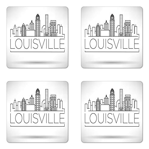 Lunarable Kentucky Coaster Set of Four, Minimalist Buildings of Louisville City Greyscale Typographic Illustration, Square Hardboard Gloss Coasters for Drinks, Pale Grey Black ()