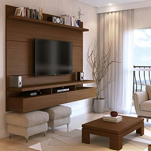Manhattan Comfort City 2.2 Collection Floating Entertainment Center with TV Mount Wall Theater Display, 86.5