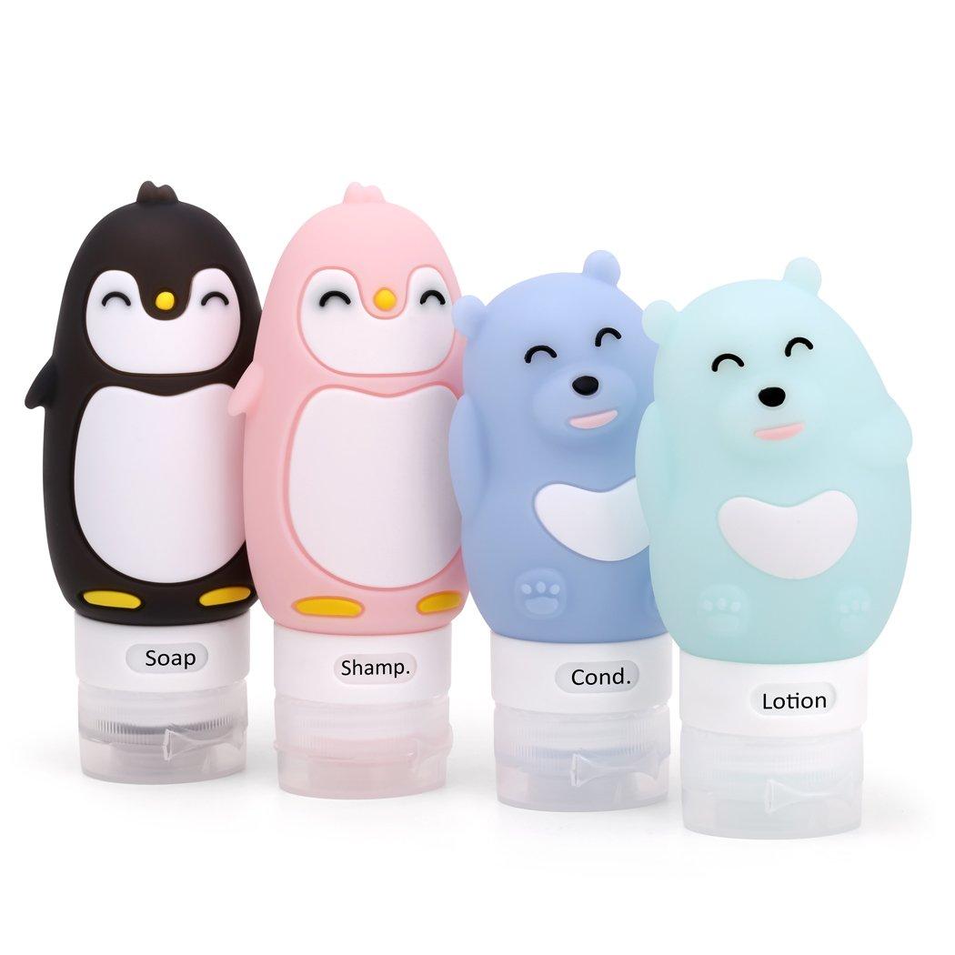 ValourGo Auslaufsicheres Cartoon Reiseflaschen Set - Nachfüllbare, BPA-Freie, TSA zugelassene Silikon-Reisebehälter für Shampoo, Conditioner, Lotion, Hygieneartikel travel bottles 004-1
