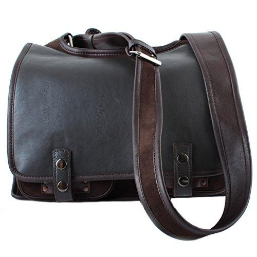 Bolso de hombro para para libros y documentos–Piel–Funda para hombre y mujer negro marrón marrón