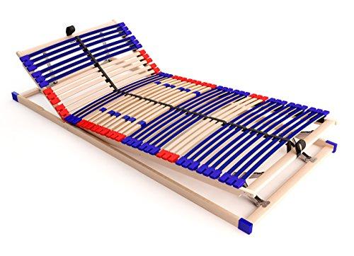 stabiler Lattenrost 100% BUCHE - Kopf- und Fußteil verstellbar - SCHULTERFRÄSUNG, 7 Zonen, 42 Federleisten, Härte-Regulierung, Mittelgurt, SCHLUMMERPARADIES - SLEEP BEST 42 VARIO PLUS unmontiert ( 100x200 cm )
