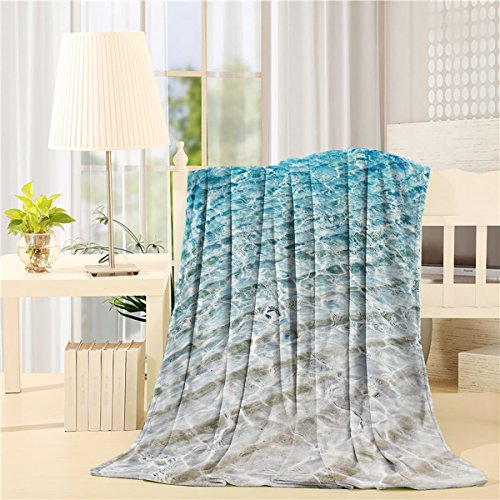 Nautical Soft Plush Throw Blanket 50x60 inch Printed Flannel Fleece Blanket for Bedroom Living Room Couch Bed Sofa - Clear Sea Water Tropical Hawaiian]()